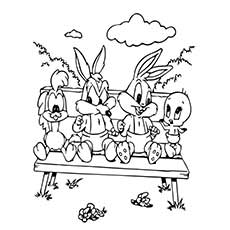 Free Printable Baby Looney tunes with Friends Coloring Pages
