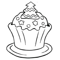 christmas cupcake - Cupcakes Coloring Pages