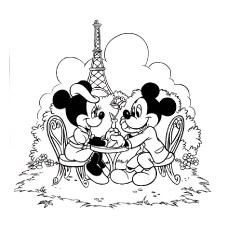 minnie and mickeys date in paris to color - Minnie Printable Coloring Pages
