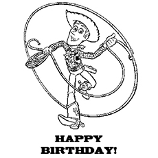 Toy Woody Wishes Happy Birthday Coloring Page