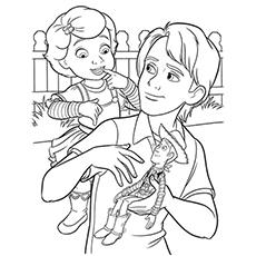 Andy And Bonnie Character From Toy Story Coloring Pages