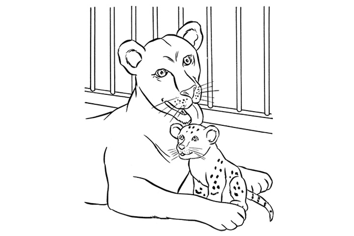 Coloring Pages Of Animals And Their Young Free Printable