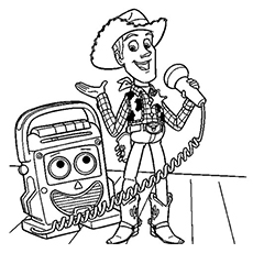 Woody Speaking on Microphone Printable Coloring Page of Toy story series