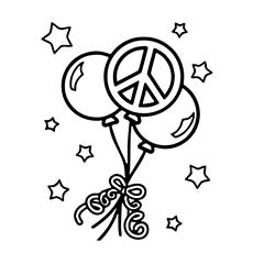 free peace balloons coloring page - Peace Sign Coloring Pages