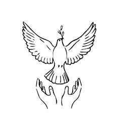 Pegion Peace Symbol Coloring Bird