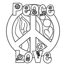 Peace Love and Flower Coloring Page