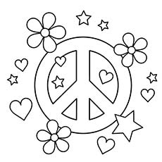 Love Peace Sign Coloring Page to Print