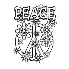peace sign flowers peace wheel design coloring page