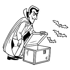 Vampire Opened the Box to get Bats Out of It Coloring Pages