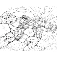 Fight Betwen Batman vs Hulk Coloring Pages