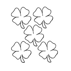 a leaf clover_coloring_page five - Four Leaf Clover Printable