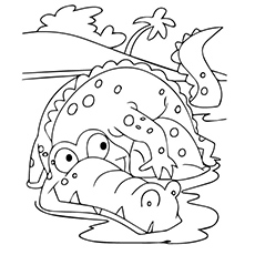 alligator coloring page tree