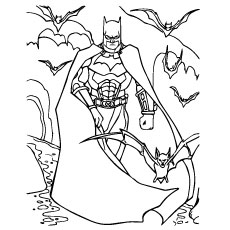 Batman With Bats Group Coloring Pages
