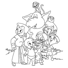 Entire Team of Chota Bheem Coloring Pages