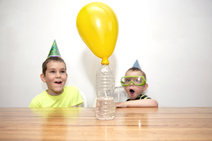 Bottle inflated balloon