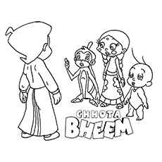 Chota Bheem Discussing with his Friends Coloring Page