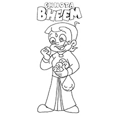 Chota Bheem Eating Ladoos Coloring Pages