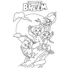 Chota Bheem with his Best Friends Coloring Sheet to Print