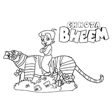 Chota Bheem Sitting on a Tiger Coloring Pages