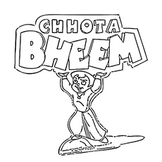 Chota Bheem Showing his Strength Coloring Pages