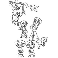 Printable of Chota Bheem With Friends Coloring Pages