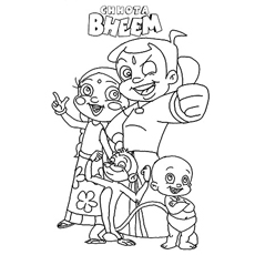 Chota Bheem With Small Team Coloring Page