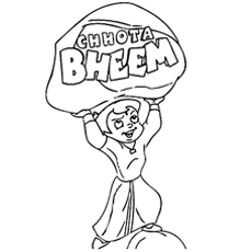 Cute Chota Bheem The Protector Coloring Page