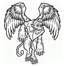 Cute Winged Monkey Image to Color
