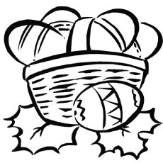 easter basket with holly leaves - Easter Basket Coloring Pages