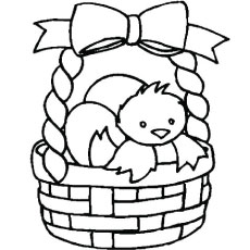 easter egg hatch in basket picture to color - Easter Basket Coloring Pages