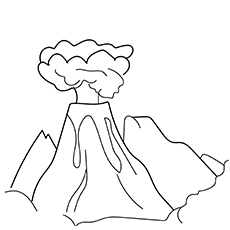 exploding volcano - Volcano Coloring Pages