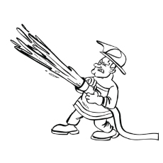 Firefighter with Fire Hose Coloring Page