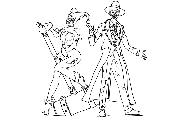Harley Quinn Joker Coloring Pages Sketch Coloring Page