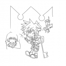Kingdom Hearts Lineart by Flamin Axel