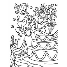 Little Mermaid And King Neptune In Birthday Party Coloring Pages