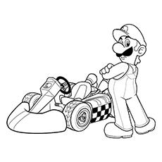Coloring Sheet of Super Mario And A Racing Car
