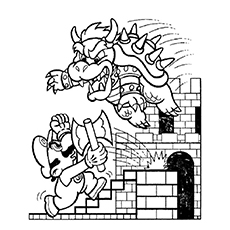 mario and bowser fighting coloring pages