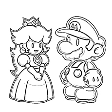 coloring pages of super mario and princess peach to print - Free Printable Coloring Pages