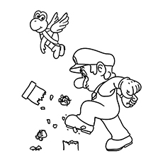 Super Mario Breaking A Pillar Coloring Pages To Print