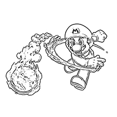 Super Mario Throwing A Fireball Coloring Pages