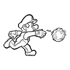 Mario With Fire Ball Printable Coloring Pages