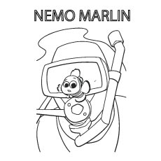 Nemo Marlin is a Clownfish Printable to Color