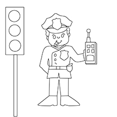 Police Man With Walkie Talkie-16