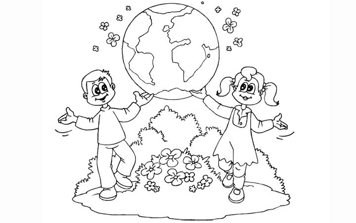 Earth Day Coloring Pages Sketch Page
