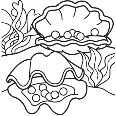 shells with pearls - Seashell Coloring Pages Printable