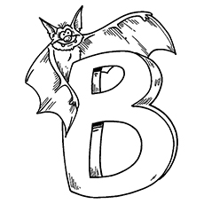 B for Bat Coloring Page