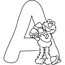 picture of letter a for acorn to color - Coloring Page A