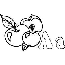 coloring page of letter a for apple - A Coloring Pages