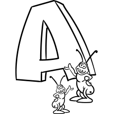 Free Printable A Stands for Ant Coloring Page
