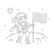 The Astronaut On The Moon with Flag